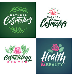 natural cosmetics logo health beauty and vector image