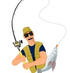 Fisherman caught a fish vector image vector image