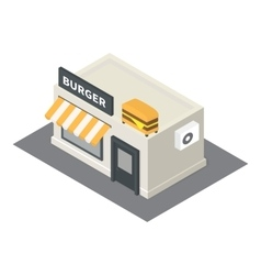 isometric fast food burger building icon vector image