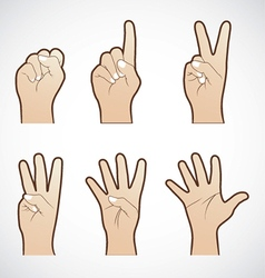 Set of counting hand sign vector image