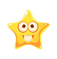 yellow star with smiling face and big eyes vector image vector image