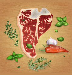 beef t-bone steak with delicious sauces and spices vector image
