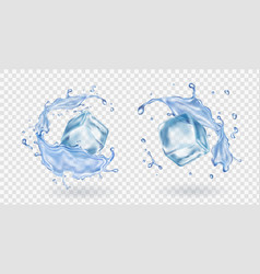 ice cube and water splashing stransparent et vector image