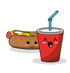 Kawaii hot dog soda straw image vector