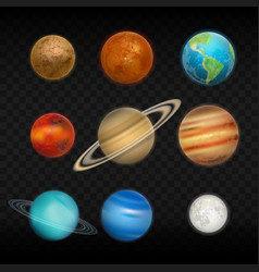 realistic solar system planet icon set vector image