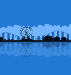 scenery amusement park background silhouette vector image vector image