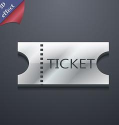ticket icon symbol 3D style Trendy modern design vector image