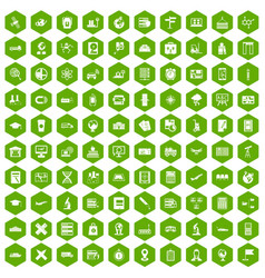 100 globe icons hexagon green vector
