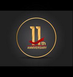 11 anniversary design golden color with ring vector