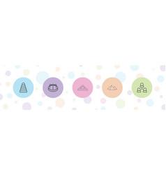 5 pyramid icons vector