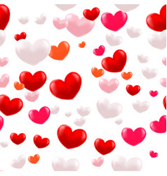abstract 3d hearts seamless pattern vector image
