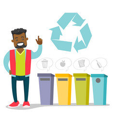 African man standing next to the garbage bins vector
