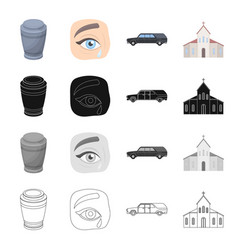 an urn with ashes tears at a funeral a vector image