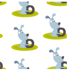 animal alphabet pattern with dog vector image