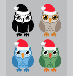 black and white and colorful owl icons vector image