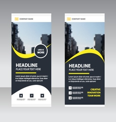 Black yellow Business Roll Up Banner template set vector