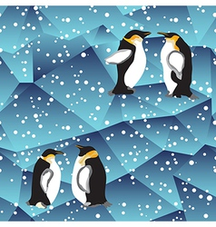 blue crystal ice background texture with penguin vector image