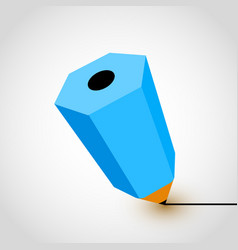 blue pencil icon on white background vector image