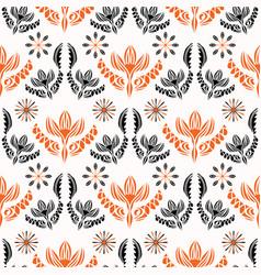 bohemian folkart floral pattern black red vector image