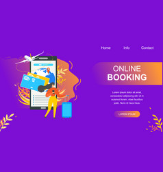 booking flight tickets online flat website vector image