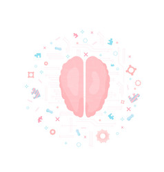 Brain with decoration vector
