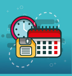 calendar floppy disk and clock office vector image