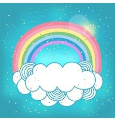 Card with rainbow and cloud vector