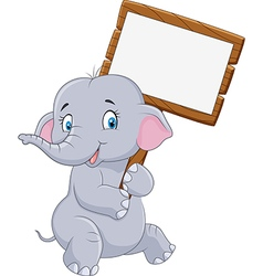 Cartoon funny elephant holding blank sign vector