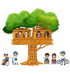 Children playing at the treehouse vector image
