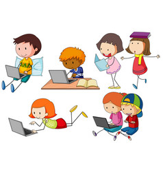 Children working on computer laptop vector