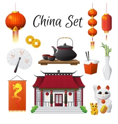 China Culture Traditions Symbols Collection vector image