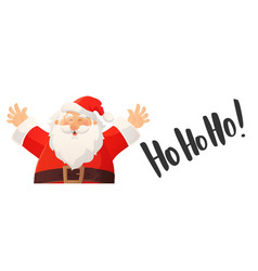 christmas banner with funny cartoon santa claus vector image