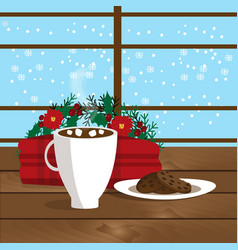 christmas of mug with hot cocoa vector image