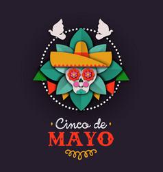cinco de mayo card papercut skull mariachi vector image