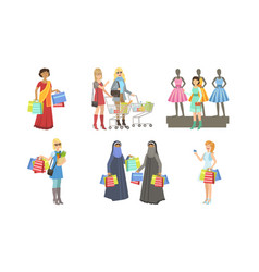 collection different people shopping bags and vector image