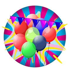Colorful balloons inside the big circle vector image vector image