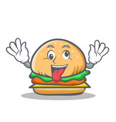 Crazy burger character fast food vector