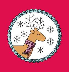 cute cartoon christmas reindeer scarf decoration vector image