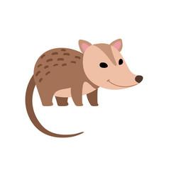 Cute opossum wild animal side view vector
