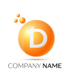 d letter splash orange dots and circle bubble vector image