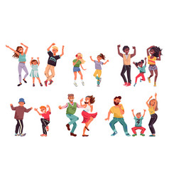 dancing family young people fun kid parents vector image