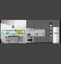 Dining room and kitchen interior background vector