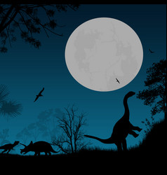 Dinosaurs silhouettes vector