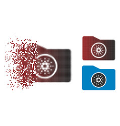 Disintegrating dotted halftone cardano wallet icon vector