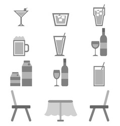 Drinks icons in restaurant on white background vector image