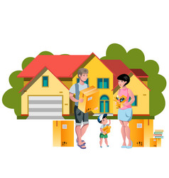 Family moving to a new house vector