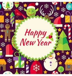 Flat Pattern Happy New Year Background vector image