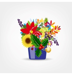 Floral pot isolated for your design vector image