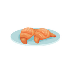 freshly baked croissant on a plate vector image