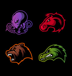 Furious octopus bear alligator and horse head vector